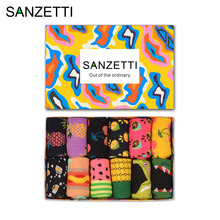 SANZETTI 12 pairs/lot Gift Box Novelty Fruit Funny Socks Combed Cotton Corn Space Man