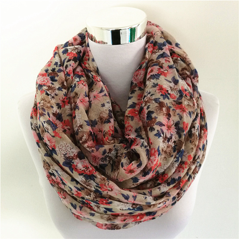 Hot SellinWarm Women Flower Loop Scarf Kvinna Liten Rose Print Chevron Ring Scarves Vinter Växter Infinity Sjal Wrap