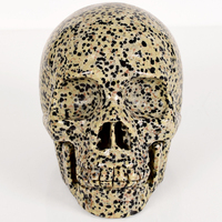 5 Inch big skull statue Natural dalmatian Handmade Skull figurine Sculpture stone Carving Crystal craft Healing Reiki Home Decor