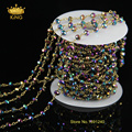 Vintage Necklace Brass Chain Colorful Rondelle Faceted Glass Beads Chain for Pendant Necklace Women Cheap Costume Jewelry JD098