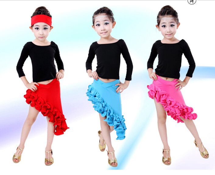2pcs top+dress Blue red pink rumba latin dance dress tango samba 120-160cm professional girl child stage performance costume