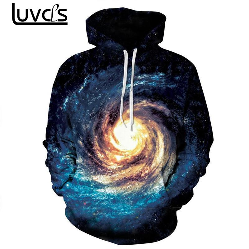 LUVCLS 2018 New Space Galaxy 3d Hoodies Sweatshirts Fashion Unisex Men/women Hoodies Loves Women Loose Thin Hooded Sweatshirt