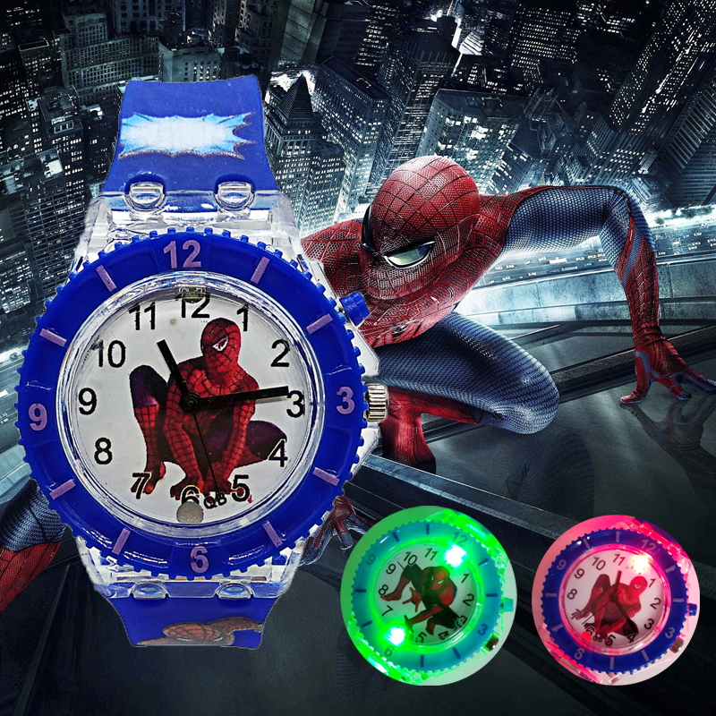 2019 Fashion Tide LED Flash Light Spiderman Kids Watches Children Watch Student Casual Sports Jelly Luminous Watches Child Clock