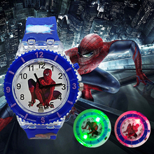 2019 Fashion Tide LED Flash Light Spiderman Kids watches Chi