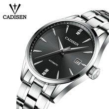 CADISEN Movt Nh35 ساعة الرجال العلامة التجارية فستان موضة الفولاذ المقاوم للصدأ الميكانيكية ساعة اليد Relogio Masculino 5ATM مقاوم للماء C1033
