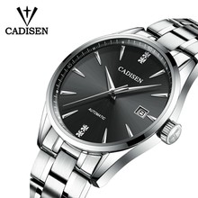 Cadisen movt nh35 assista men marca vestido moda aço inoxidável relógio de pulso mecânico relogio masculino 5atm à prova dwaterproof água c1033