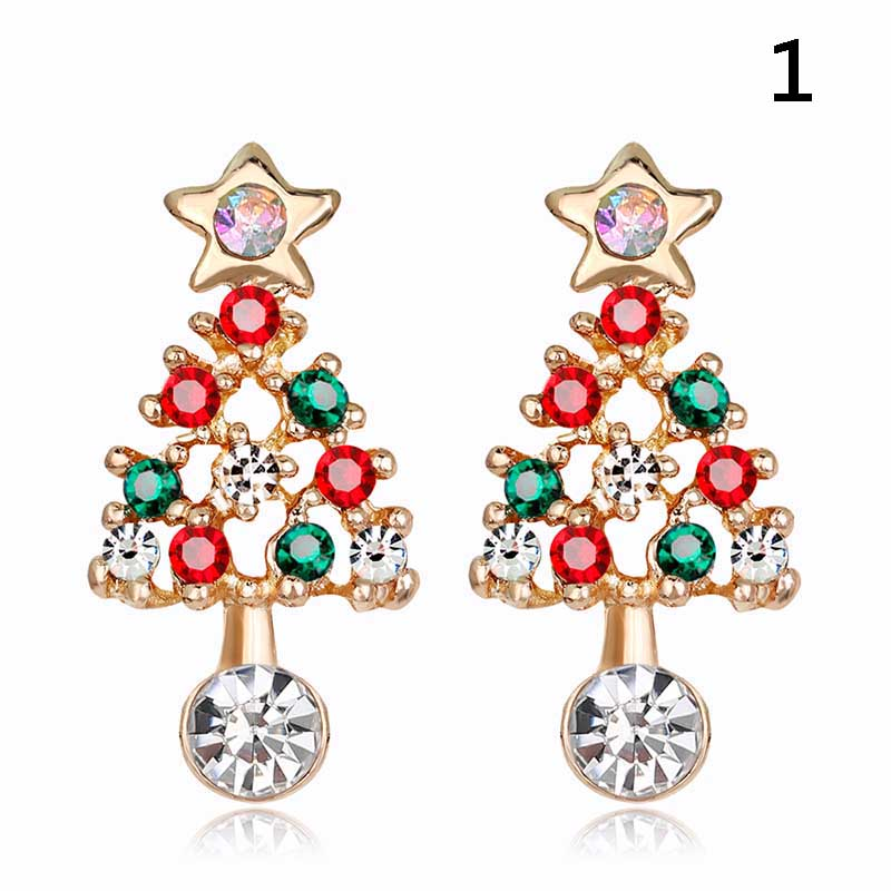 1 Pair Stylish Stud Earrings Christmas Jewelry Xmas Tree Santa ...