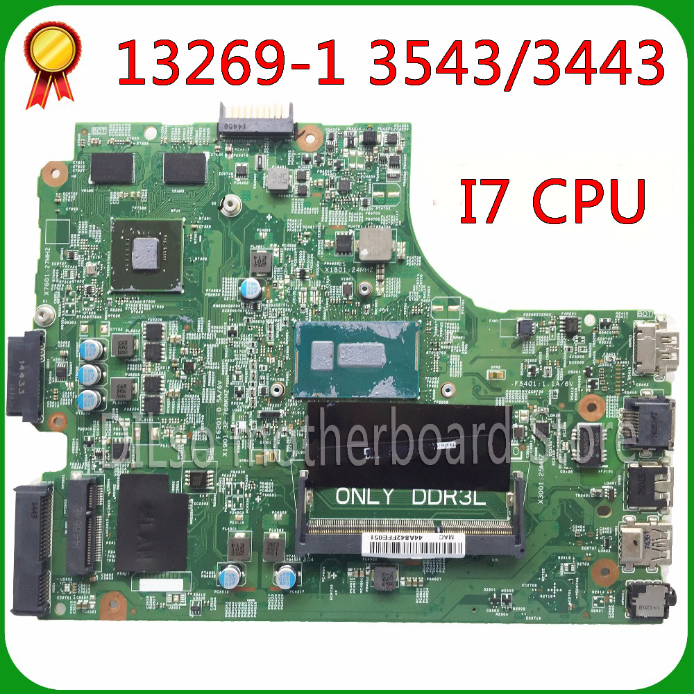 KEFU 13269-1 For DELL 3543 DELL 3443 motherboard 13269-1 PWB FX3MC REV A00 motherboard I7 cpu original Test motherboard цена и фото