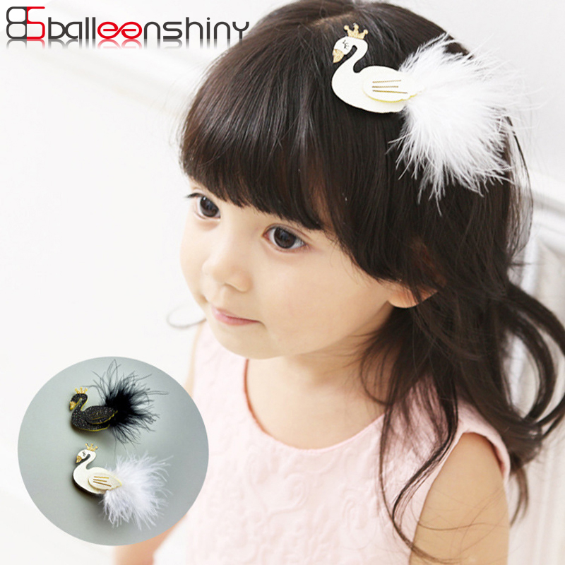 BalleenShiny Baby Girls New Lovely Cartoon Black And White Swan Kids Hair Clips Children   Headwear   Princess Barrette Fashion Gift