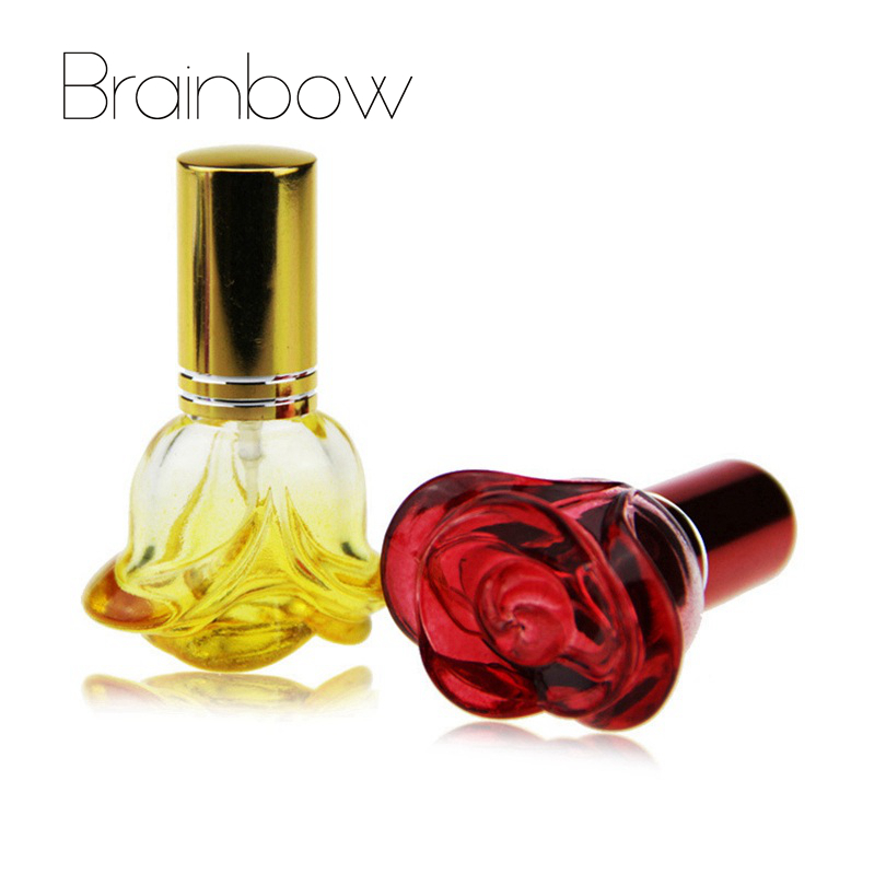 Brainbow 5ml 3D Flower Perfume Bottle Mini Portable Travel Refillable Perfume Atomizer Bottle Color Spray Scent Pump Empty Case 1 pc new 5 ml amazing travel perfume atomizer refillable spray empty perfume bottle easy used aluminum glass mini scent bottle