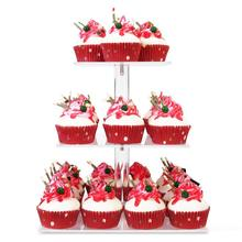 YestBuy 3 Tier Maypole Square Wedding Party Tree Tower Acrylic Cupcake Display Stand (3 (12cm gap) )(10.1  Inches)