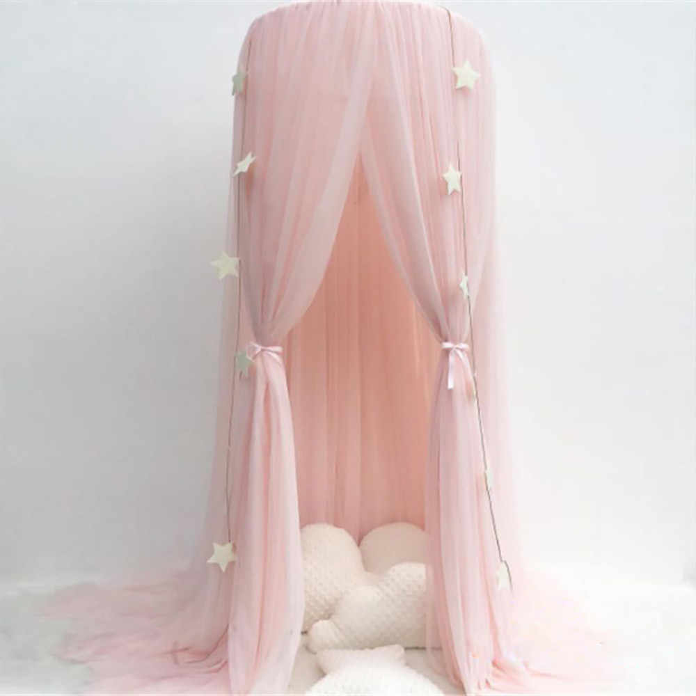 Kids Baby Bedroom Mosquito Net Canopy Bedcover Girls Room Fairy Curtain Bedding Dome Tent Room Decor 3 Door Canopy Netting
