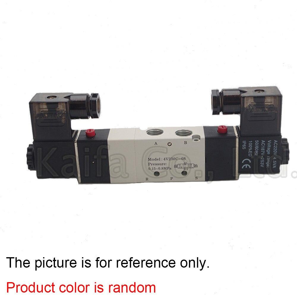 1pcs 1/4 Ports 4V230C-08 DC 12V 24V AC 220V 110V 3 Position 5 Way Air Solenoid Valve pnematic solenoid valve 5 3 5 way 3 position 1 4 bsp 4v230c 08 double coil center closed led light ac110v