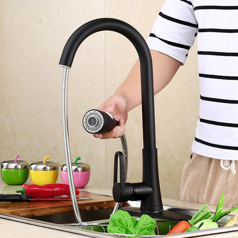 kitchen cold and hot water faucets mixer blackened pull out sink taps faucet Deck Mounted Brass kitchen faucets