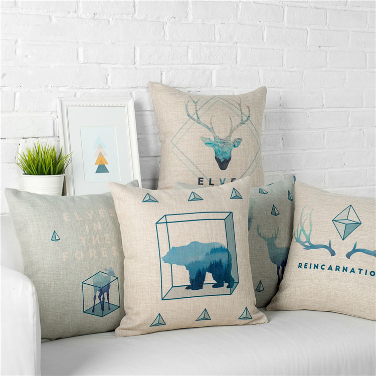 product Wholesales Linen Pillow Cover Cushion Cover Nordic style Deer Head Pola Bear Geometric Home Decorative Pillow Case 45x45cm