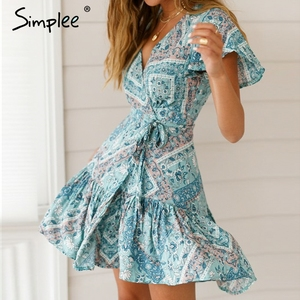 Image 1 - Simplee Bohemian print summer dress women Ruffled short sleeve sashes mini dress Wrap v neck sexy ladies dresses vestidos 2019
