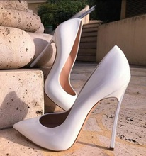 цена Pumps Size 13 Wedding Dress Shoes White Pointed Toe 12CM Metal Heels Pumps High Heels Slip-on Women Formale Shoes Drop Ship онлайн в 2017 году