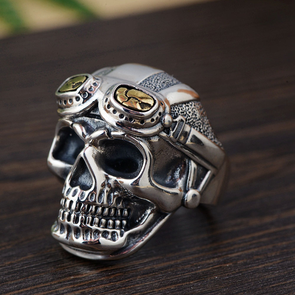 FNJ 925 Silver Skull Ring Skeleton Original Pure S925 Sterling Thai Silver Rings for Men Jewelry Adjustable Size цена