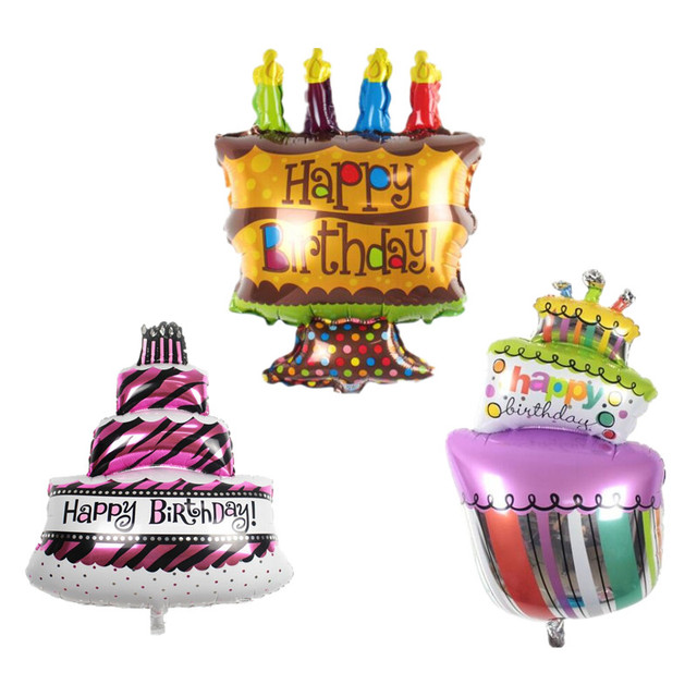1pc Three Layers Birthday Cake Aluminum Foil Balloon Happy Printed Inflatable Air For Party Decoration