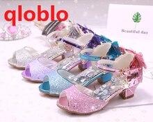 qloblo Summer Wedding high Heel Fish Mouth Bowknot Sandals Girls Princess Dress Sandals Glitter Kids Shoes Sandals for Children цена 2017