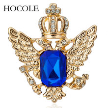 HOCOLE Vintage Suit Crown Eagle Wings Brooch Fashion Women Men Corsage Crystal Rhinestone Wedding Brooch Pin Party Jewelry Gift a suit of vintage rhinestone wedding jewelry set for women