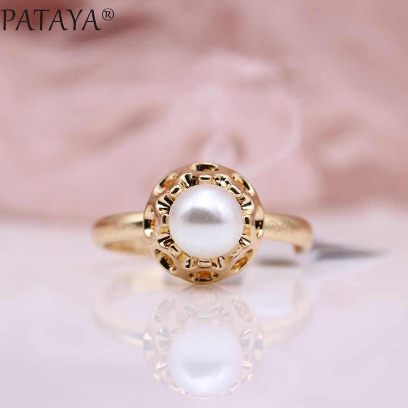 ¡Nuevo precio especial! Anillos PATAYA de imitación de perlas blancas para mujer, joyería de moda 585, oro rosa, verde oliva, circón Natural, anillo Simple