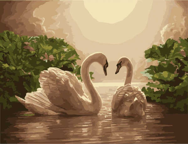 Frameless Digital Oil Painting By Numbers Swan Couple Pictures Paiting On Canvas DIY Home Decoration Wall Decor Home Decor G275