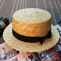 Nueva Moda de Verano Sombreros de Paja para Las Mujeres Pork pie Hat con Cinta Gilr Sun Beach Caps [HUB245]