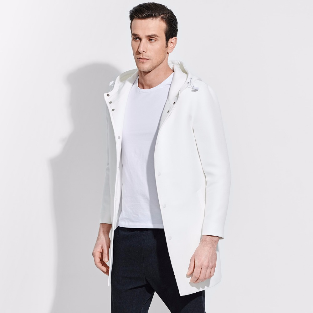 brand men clothing 2017 fashion Brief spring hooded solid men long black white trench coat single breasted men overcoat jacket