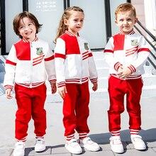 Winter Autumn Kids British Primary School Class Uniforms for Girls Boys Thicken Baseball Coat Pant Children Sports Student Suits