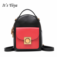 It S YiiYa New 7 Colors Women Genuine Leather Backpack Fashion Casual Preppy Style Panelled Girls