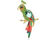 Перидот Зеленый Кристалл Горного Хрусталя Бисером Попугай Птица Costumer Ювелирные Изделия Брошь Pin