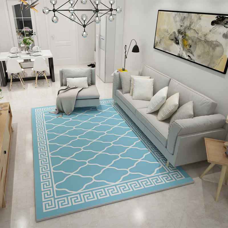 Europe Large Area Carpets Rugs Living Room Carpet Suede Mats Sky Blue Geometric Rectangle Carpet For Bedroom Decoration Carpet