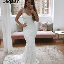 Sexy Beach Ivory Lace Mermaid Wedding Dresses 2019 V Neck Long White Bridal  Dresses Hawaiian Wedding 97eba683f252