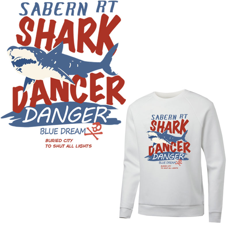 shark letters iron-on diy t-shirt clothing heat transfer sticker patch washable