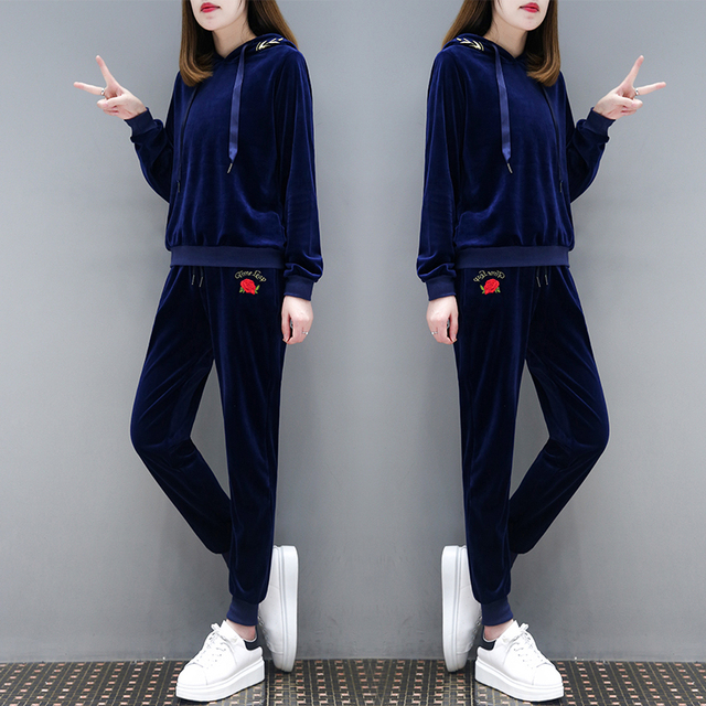 two-piece women suit velvet spring and autumn long-sleeved hoodies pants navy  blue clothing set pullovers top outfit girl sets 1f5848cdcb
