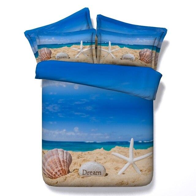 3D Beach Comforter Sets Starfish Bedding Set Quilt Duvet Cover Bed Sheets  Bedspreads Linens California King