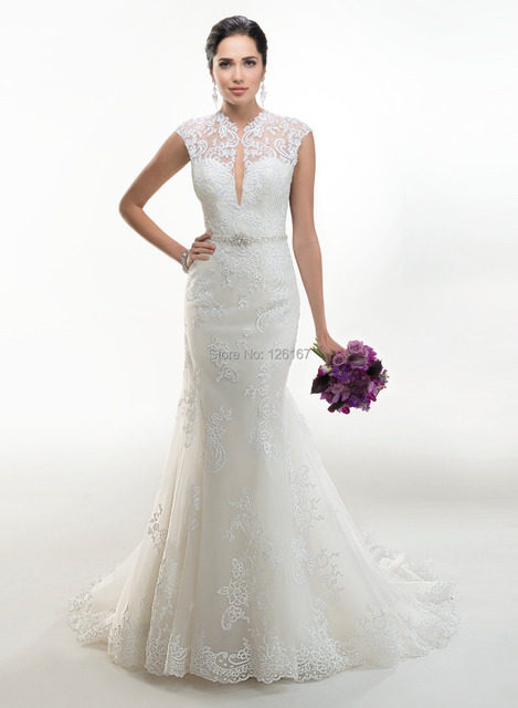 Top Quality Wedding Dress Hollow Out Back Cap Sleeve Tight Sheath Lace Appliques Keyhole