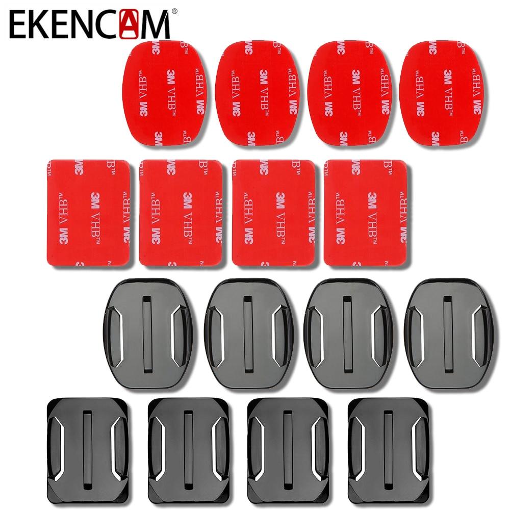 EKENCAM 4pcs Flat Curved Base Mount 3M VHB Stickers For GoPro Hero 6 5 3 4 Session Xiaomi Yi 4K EKEN H9r Mount Accessories Set