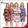 CR003 Algodão Floral Robe Floral Mulheres Nupcial Do Casamento da Flor de Cetim de Seda Kimono Robe Spa Senhora Noite Vestido Frete Grátis
