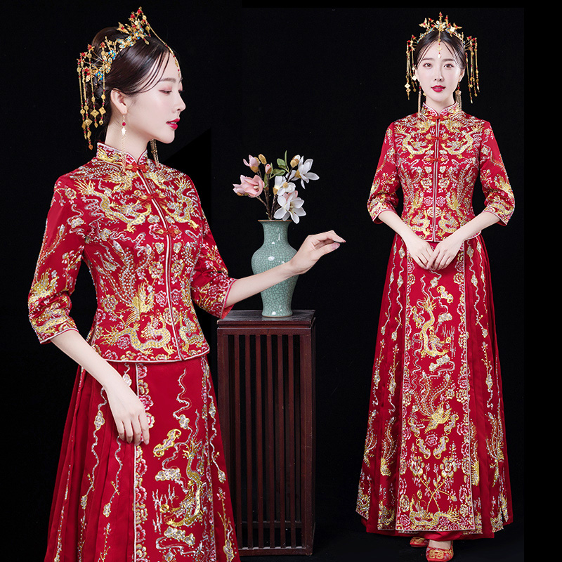 Chinese Vintage Embroidery Dragon&phoenix Qipao Full Length Cheongsam Female Marriage Set Classic Bride Wedding Party Dress