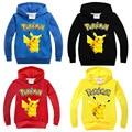 2016 New Boys and Girls T Shirt POKEMON GO Cotton Shirt Cartoon Pikachu Girl Kids Hooded Spring autumn Children Clothes