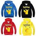 2016 Novos Meninos e Meninas T Camisa Camisa Dos Desenhos Animados Pikachu POKEMON IR Algodão Menina Crianças Com Capuz Primavera outono Crianças Roupas
