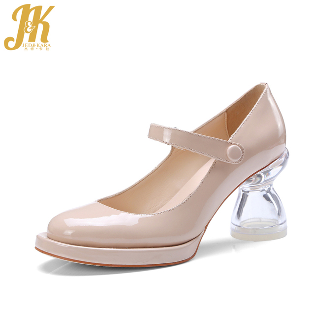 J&K 2018 New Style Mary Janes Pumps Brand Design Transparent High Strange Heel Women Shoes Sweet Platform Pumps Natural Leather