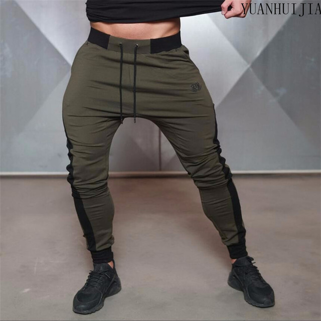 2016 Brand New Gold Medal Fitness Casual Elastic Embroidered Pants Stretch Cotton Men's Pants Body Engineers Jogger Bodybuilding