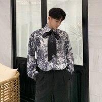 Men Retro Pattern Tie Bow Casual Loose Long Sleeve Shirt Male Harajuku Streetwear Hip Hop Party Dress Shirts