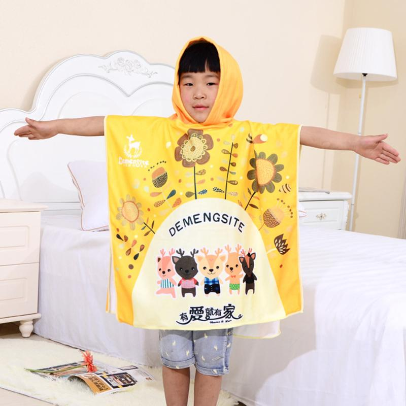 Cute Cartoon Baby Hooded Bathrobe Bath Towel Baby Fiber Receiving Blanket Neonatal Children Kids Infant Bathing Towel