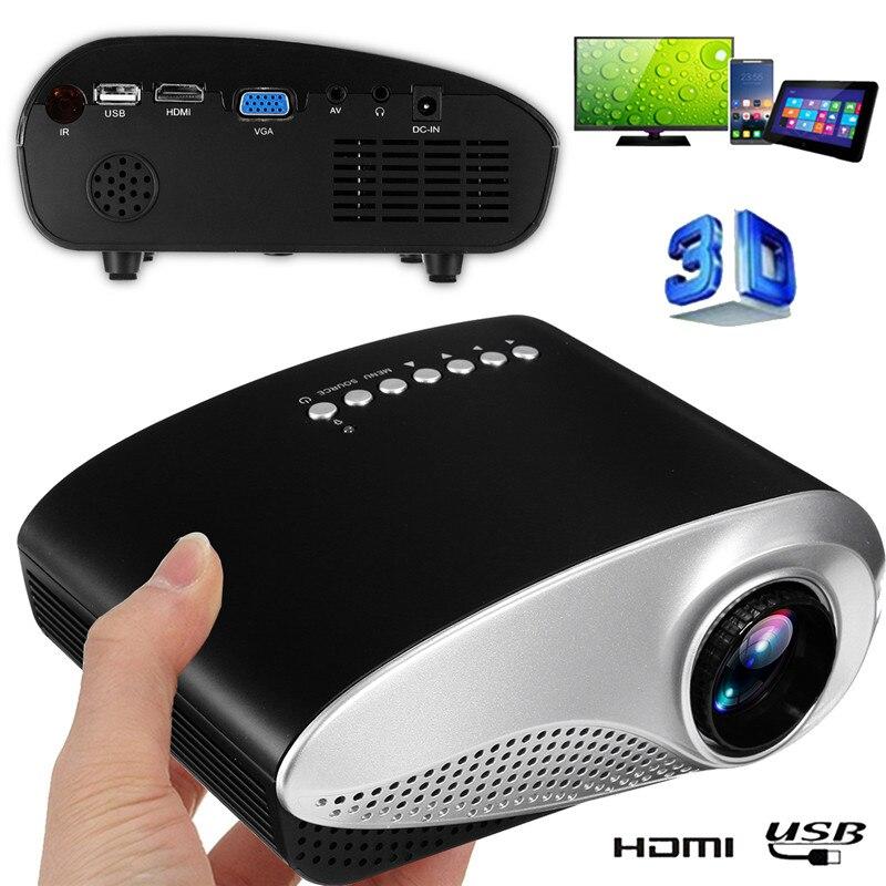 Mini cinema em casa mini portátil 1080 p 3d hd led projetor multimídia cinema em casa usb vga hdmi tv
