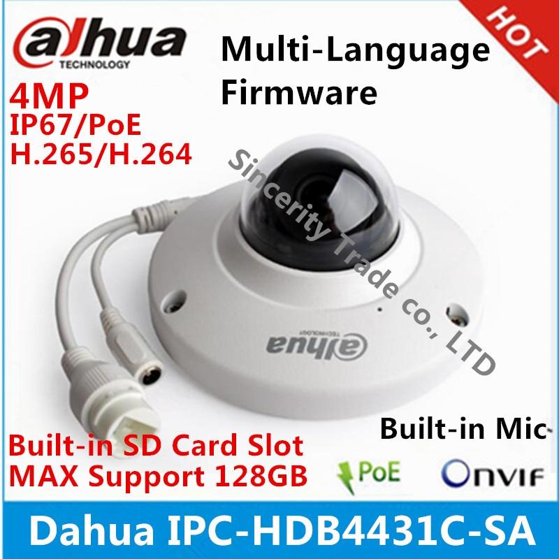 imágenes para Dahua H2.65 IPC-HDB4431C-SA 4MP IP67 IK10 POE MICRÓFONO incorporado con ranura para Tarjetas sd cámara reemplazar IPC-HDB4300C ip cámara domo