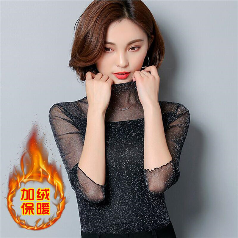 New 2017 Mock Neck Lettuce Hem Glitter Mesh Blouse Sexy Womens Long Sleeve  Tops Black High Neck Elegant Slim Blouse -in Blouses   Shirts from Women s  ... 39a9a8a664f9